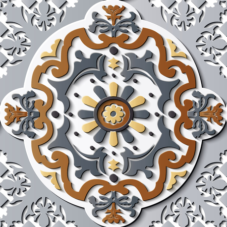 Seamless relief sculpture decoration retro pattern round oval spiral curve cross vine leaf flower. Ideal for greeting card or backdrop template design