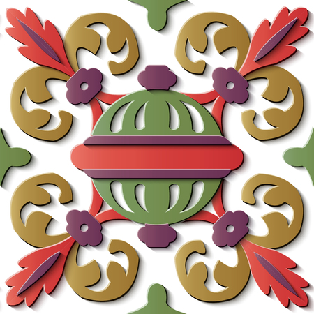Seamless relief sculpture decoration retro pattern spiral curve cross leaf round decor ball. Ideal for greeting card or backdrop template design
