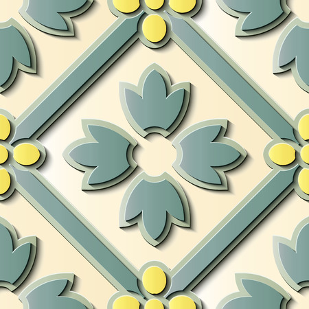 Seamless relief sculpture decoration retro pattern check cross leaf flower frame kaleidoscope. Ideal for greeting card or backdrop template design