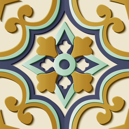 Seamless relief sculpture decoration retro pattern spiral curve cross frame flower kaleidoscope. Ideal for greeting card or backdrop template design