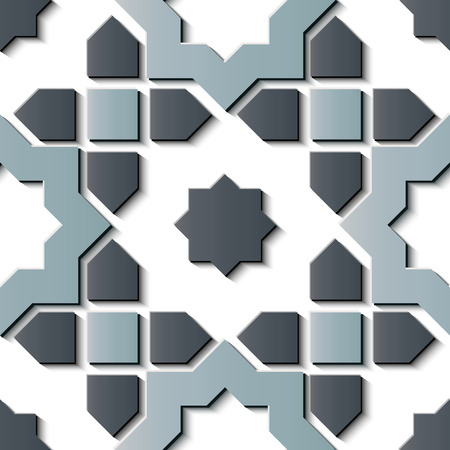Seamless relief sculpture decoration retro pattern star geometry cross kaleidoscope. Ideal for greeting card or backdrop template design