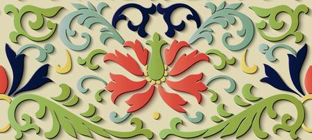 Seamless relief sculpture decoration retro pattern botanic garden leaf vine flower. Ideal for greeting card or backdrop template design
