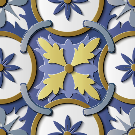 Seamless relief sculpture decoration retro pattern round curve cross frame chain flower kaleidoscope. Ideal for greeting card or backdrop template design