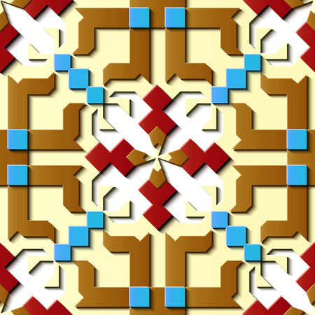 Seamless relief sculpture decoration retro pattern polygon geometry cross kaleidoscope. Ideal for greeting card or backdrop template design