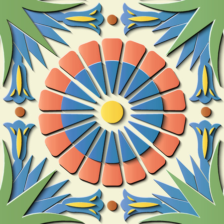 Seamless relief sculpture decoration retro pattern round cross leaf flower kaleidoscope. Ideal for greeting card or backdrop template design