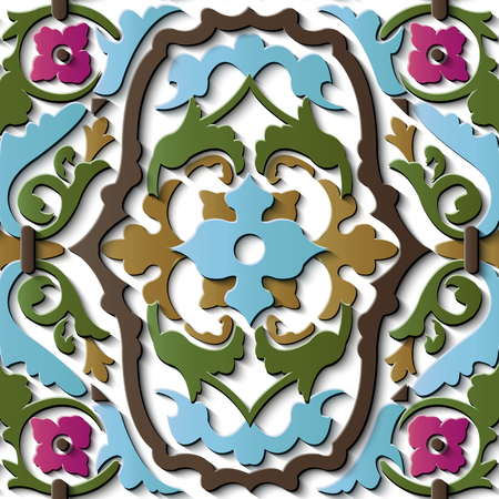 Seamless relief sculpture decoration retro pattern botanic spiral curve corss plant vine flower. Ideal for greeting card or backdrop template design