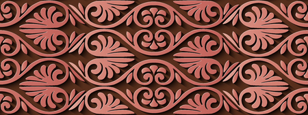 Seamless relief sculpture decoration retro pattern red spiral curve cross frame leaf vine flower. Ideal for greeting card or backdrop template design