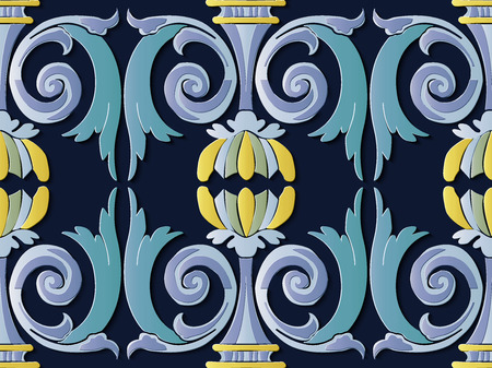 Seamless relief sculpture decoration retro pattern spiral curve cross leaf frame flower. Ideal for greeting card or backdrop template design