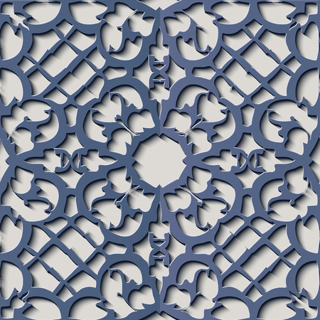 Seamless relief sculpture decoration retro pattern blue flower cross frame chain kaleidoscope. Ideal for greeting card or backdrop template design