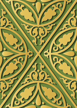 Seamless relief sculpture decoration retro pattern spiral curve cross frame leaf crest. Ideal for greeting card or backdrop template design