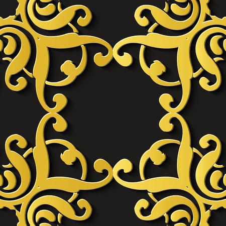 Nahtlose Reliefskulptur Dekoration Retro Muster Luxus Spiralkurve Kreuz Blumenrahmen Wappen Kaleidoskop. Ideal für Grußkarten- oder Hintergrundschablonendesign Vektorgrafik