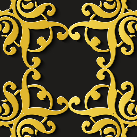 Seamless relief sculpture decoration retro pattern luxury spiral curve cross flower frame crest kaleidoscope. Ideal for greeting card or backdrop template design
