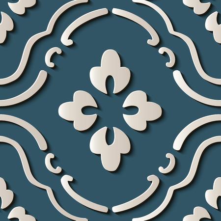 Seamless relief sculpture decoration retro pattern oriental curve cross frame vine flower crest. Ideal for greeting card or backdrop template design Illustration