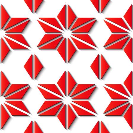 Seamless relief sculpture decoration retro pattern red polygon geometry cross star triangle. Ideal for greeting card or backdrop template design