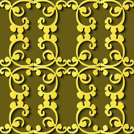 Seamless relief sculpture decoration retro pattern spiral curve cross plant vine frame. Ideal for greeting card or backdrop template design