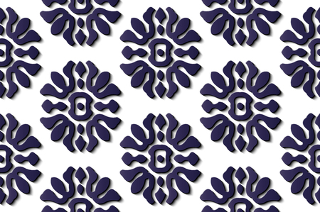 Seamless relief sculpture decoration retro pattern blue spiral curve cross frame flower kaleidoscope. Ideal for greeting card or backdrop template design