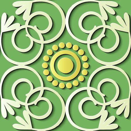Seamless relief sculpture decoration retro pattern spiral curve cross vine round frame flower. Ideal for greeting card or backdrop template design