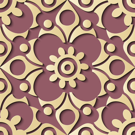 Seamless relief sculpture decoration retro pattern round spiral curve cross frame flower crest. Ideal for greeting card or backdrop template design