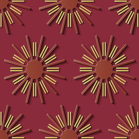 Seamless relief sculpture decoration retro pattern geometry round spiral cross flower kaleidoscope. Ideal for greeting card or backdrop template design Vektorgrafik