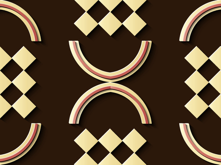 Seamless relief sculpture decoration retro pattern geometry check semi circle cross frame kaleidoscope. Ideal for greeting card or backdrop template design