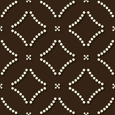 Seamless relief sculpture decoration retro pattern round dot cross frame line. Ideal for greeting card or backdrop template design