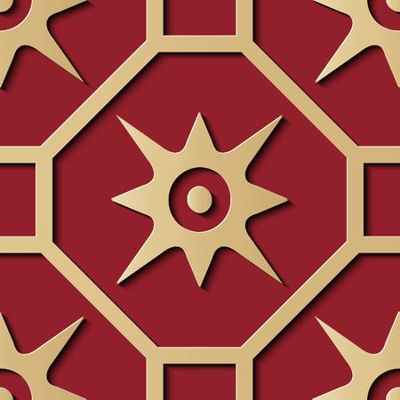 Nahtlose Reliefskulptur Dekoration Retro Muster Polygon Geometrie Kreuzrahmen Stern Kreuz Gold Blume. Ideal für Grußkarten- oder Hintergrundschablonendesign Vektorgrafik