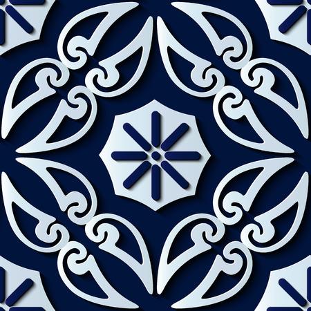 Nahtlose Reliefskulptur Dekoration Retro Muster Spiralkurve Kreuzrahmen Rebe Blume Pflanze Kaleidoskop. Ideal für Grußkarten- oder Hintergrundschablonendesign