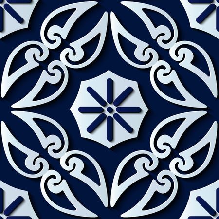 Seamless relief sculpture decoration retro pattern spiral curve cross frame vine flower plant kaleidoscope. Ideal for greeting card or backdrop template design