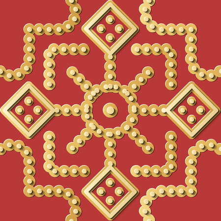 Seamless relief sculpture decoration retro pattern gold red round geometry dot cross frame line. Ideal for greeting card or backdrop template design Illustration