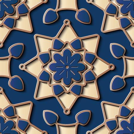 Nahtlose Reliefskulptur Dekoration Retro-Muster Sternkreuz Goldrahmen Linie Blumenkaleidoskop. Ideal für Grußkarten- oder Hintergrundvorlagendesign