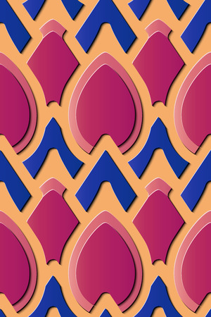 Seamless relief sculpture decoration retro pattern curve cross geometry frame kaleidoscope. Ideal for greeting card or backdrop template design