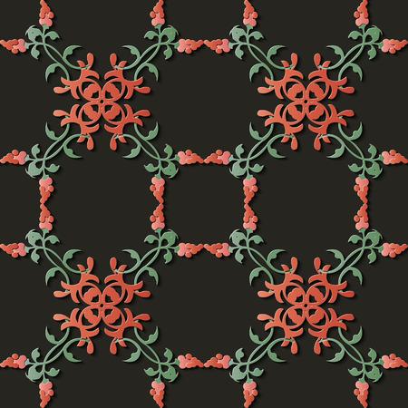 Nahtlose Reliefskulptur Dekoration Retro Muster botanische Spirale Kreuzblatt Rebe Blume. Ideal für Grußkarten- oder Hintergrundschablonendesign
