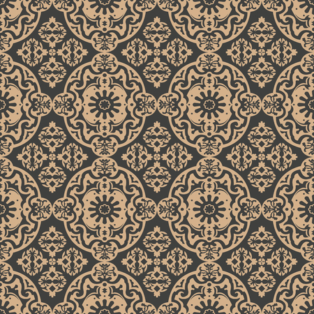 Vector damask seamless retro pattern background oval curve round cross spiral plant leaf vine frame flower. Elegant luxury brown tone design for wallpapers, backdrops and page fill.