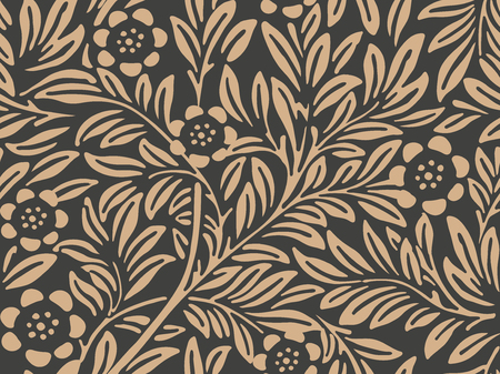 Vector damask seamless retro pattern background botanic garden nature plant leaf flower. Elegant luxury brown tone design for wallpapers, backdrops and page fill. 矢量图像