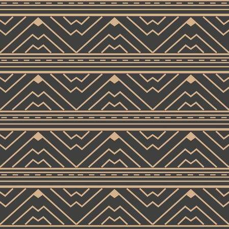 Vector damask seamless retro pattern background triangle wave cross frame line. Elegant luxury brown tone design for wallpapers, backdrops and page fill. 矢量图像