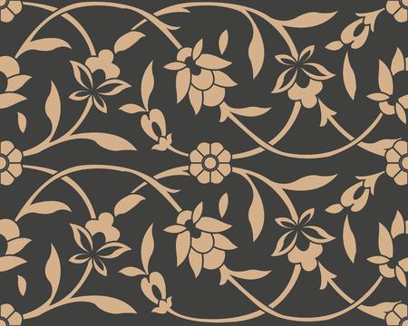 Vector damask seamless retro pattern background botanic garden spiral curve cross frame vine leaf flower. Elegant luxury brown tone design for wallpapers, backdrops and page fill. Illustration
