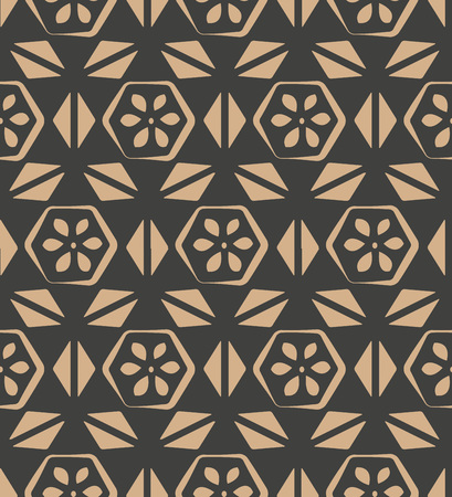 Vector damask seamless retro pattern background polygon geometry triangle cross frame. Elegant luxury brown tone design for wallpapers, backdrops and page fill.