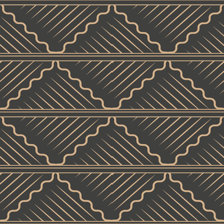 Vector damask seamless retro pattern background spiral curve wave cross frame line. Elegant luxury brown tone design for wallpapers, backdrops and page fill.