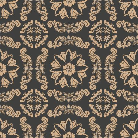 Vector damask seamless retro pattern background oriental spiral curve cross frame leaf vine flower. Elegant luxury brown tone design for wallpapers, backdrops and page fill. Vector Illustration