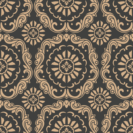 Vector damask seamless retro pattern background oriental round spiral curve cross frame vine leaf flower chain. Elegant luxury brown tone design for wallpapers, backdrops and page fill.