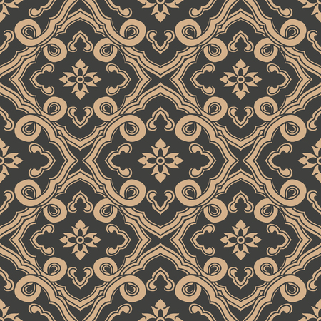 Vector damask seamless retro pattern background oriental spiral curve cross frame leaf vine flower chain. Elegant luxury brown tone design for wallpapers, backdrops and page fill.