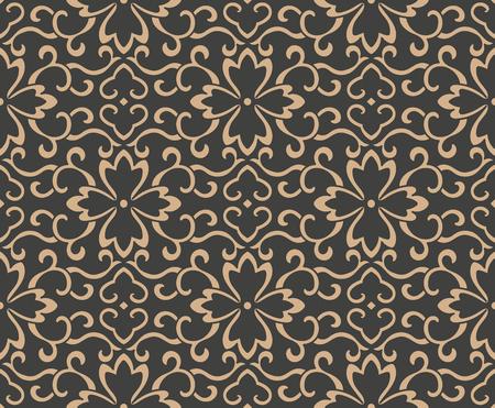 Vector Damasco sin fisuras patrón retro fondo oriental espiral curva cruz marco hoja vid flor cadena. Diseño de tono marrón de lujo elegante para fondos de pantalla, fondos y relleno de página.