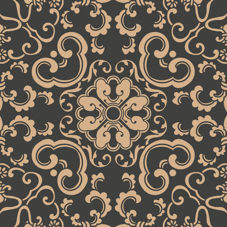 Vector damask seamless retro pattern background spiral curve cross oriental frame chain leaf vine flower. Elegant luxury brown tone design for wallpapers, backdrops and page fill.