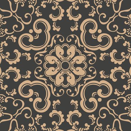 Vektor-Damast nahtlose Retro-Muster Hintergrund Spirale Kurve Kreuz orientalischen Rahmen Kette Blatt Rebe Blume. Elegantes, luxuriöses Braunton-Design für Tapeten, Hintergründe und Seitenfüllungen.
