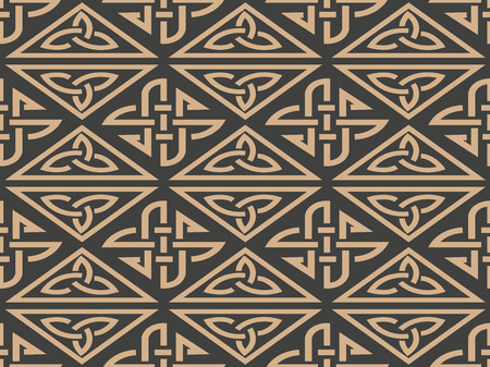Vector damask seamless retro pattern background aboriginal triangel geometry cross frame chain. Elegant luxury brown tone design for wallpapers, backdrops and page fill.