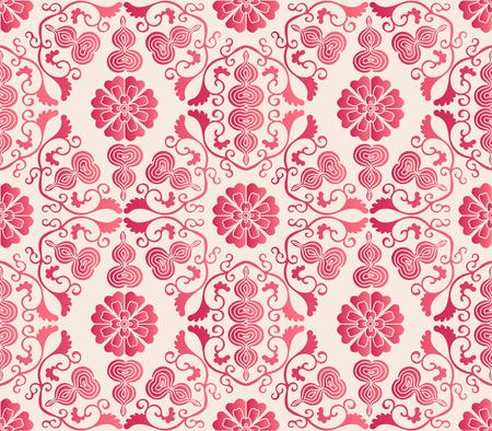 Elegant seamless Chinese style botanic garden flower groud chain pattern background. Traditional retro wallpaper design.