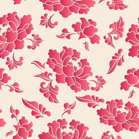 Elegant seamless Chinese style botanic garden peony flower pattern background. Traditional retro wallpaper design.