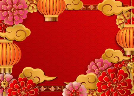 Chinese retro gold relief flower, lantern, cloud and lattice frame. Idea for greeting card, web banner design. Archivio Fotografico - 127270926