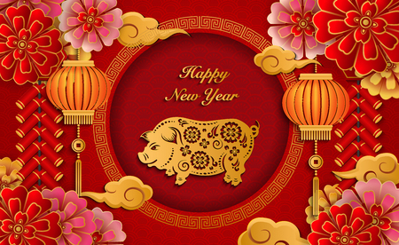 Happy Chinese new year retro gold relief flower lantern pig cloud firecrackers and lattice round frame. Idea for greeting card, web banner design. Çizim