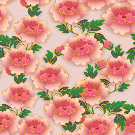 Chinese elegant botanic garden pink red peony flower seamless pattern background. Idea for greeting card, web banner design. Çizim